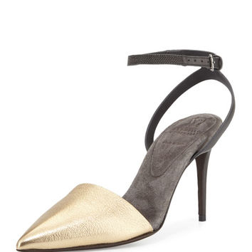 Brunello Cucinelli Monili Ankle-Wrap dOrsay Pump, Gold