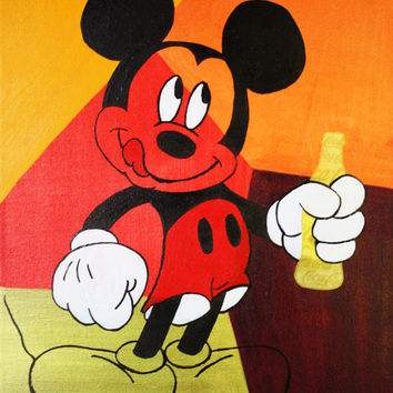 ART et Collections Mickey Mouse «Coca-Cola Bottle» Disney Pop Acrylic Media Art Modern Vintage Contemporary ORIGINAL By Kathleen Artist Pro