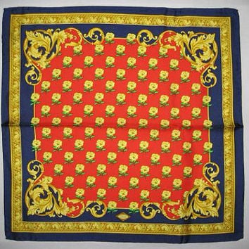 MINT. Vintage Gianni Versace red, gold, blue victorian and flower pattern print silk scarf. Gorgeous masterpiece from Italy
