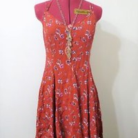 american eagle outfitters skater dress floral pattern spaghetti strap size 4