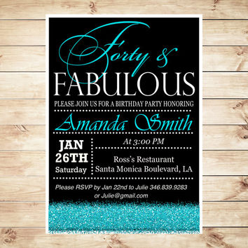Forty and Fabulous Birthday Blue Glitter Invitations, Personalized 40th Birthday Invitations for women, elegant 40th birthday party invites