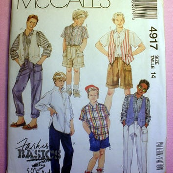 Boys Vest, Shirt, Pants or Shorts Boys Size 14 McCall's 4917 Sewing Pattern Uncut