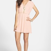 Lush 'Katie' Surplice Chiffon Skater Dress (Juniors)
