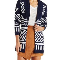 Geometric Print Shawl Collar Cardigan with Belt