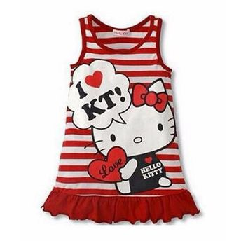 Amuybeen 2017 Summer Girls Dress Hello Kitty Vestidos Sleeveless Clothes Cotton Children Clothing Little Girls Costumes Dresses