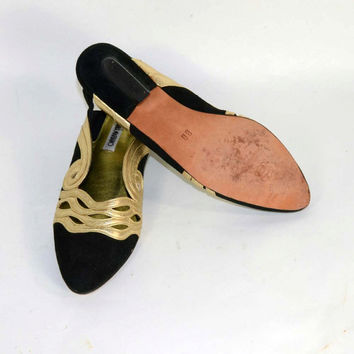 Vintage 80s Black Suede Metallic Gold Leather Slip on Slingback Shoes, Low Heel Glam Party Shoes, Art Deco Details Cosplay