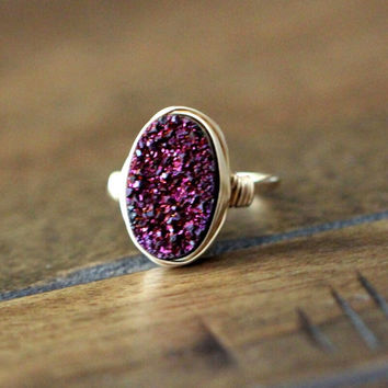 Oval Druzy Ring - Aubergine