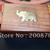 TJB919  Nepal handmade Bodhi wood mini jewelry box,brass elephant,small,best offer