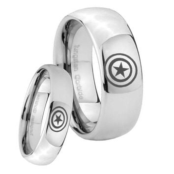 Bride and Groom Captain America Mirror Dome Tungsten Mens Wedding Ring Set