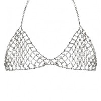 FEELING MYSELF SILVER DIAMANTE CHAIN BRA