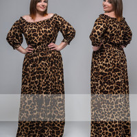 Women's Casual Ankle-Length Plus Size Leopard Print Dress