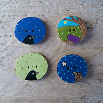 Animal Sewing Buttons - Set of 4 - Handcrafted Wooden Art Buttons - Bird, Rabbit, Hedgehog - Nature Theme