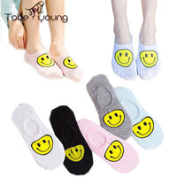 2016 New Fashion Girls Women's Cute Lovely Smile Face Cotton No Show Low Cut Shallow Mouth Boat Sock Casual Socks