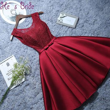 Sweet Wine Red Champagne Cocktail Dresses Bow Sequins Mini Birthday Sister Prom Party Gowns Bride Formal Custom Plus Size Dress