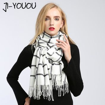 scarves women high fashion 2017 winter scarf plaid pashmina ladies scarves designer ponchos and capes wool blanket oversized