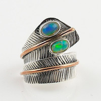 Ethiopian Opal Two Tone Sterling Silver Adjustable Ring