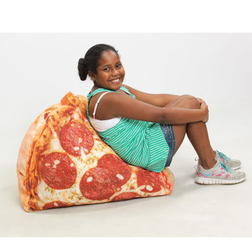 Slice of Pizza Digital-Print Beanbag Chair at Brookstone—Buy Now!