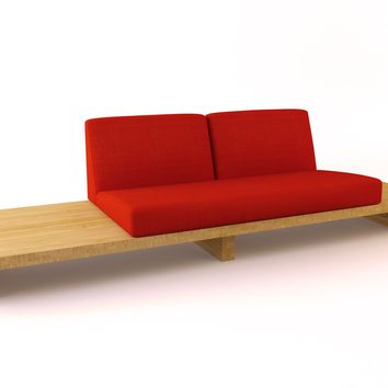 Modern Bamboo Sofa, Bamboo Float 2-Seater One Large w/ End Table | Viesso