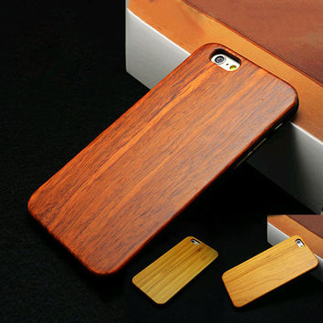 Hard Protector Cover Genuine Rosewood Carbonized Bamboo Cherry Wood Wooden Phone Case For iPhone 6 6 Plus