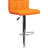 Flach Furniture Contemporary Orange Quilted Vinyl Adjustable Height Bar Stool with Chrome Base
