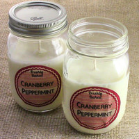 Cranberry Peppermint Soy Candle (Cranberry & Candy Cane scented, Vegan, No Dye, No Phthalates) Handmade Holiday Gift Idea, Christmas, Winter