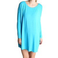 Turquoise Piko Tunic Long Sleeve Dress