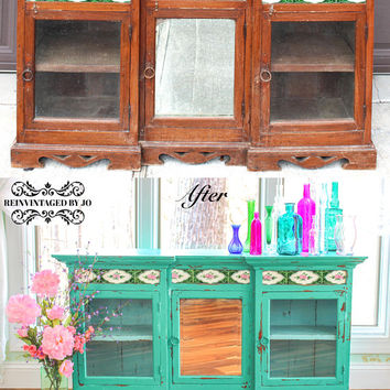 SOLD Handpainted Turquoise Green Hutch Bookshelf Bookcase Storage Buffet Server Light Blue Interior Distressed Eclectic Bohemian Boho