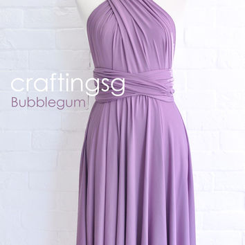 Bridesmaid Dress Infinity Dress BubbleGum Knee Length Wrap Convertible Dress Wedding Dress