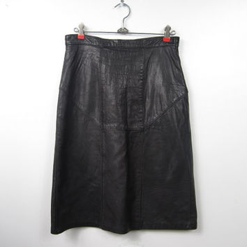 1980s Black Leather Bodycon Body Con Biker Skirt - Shapely, Sexy, Curvy - Deadstock New Vintage