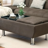 A.M.B. Furniture & Design :: Living room furniture :: Ottomans & Footstools :: Brown plush microfiber fabric storage ottoman with flip top trays and chrome finish legs