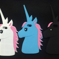 "Fashion 3D Cute Cartoon Unicorn Soft Silicone Rubber Case Cover For iPhone 4 4s 5 5s 6 6S 4.7"" 6 6S plus 5.5"" White Horse Case"