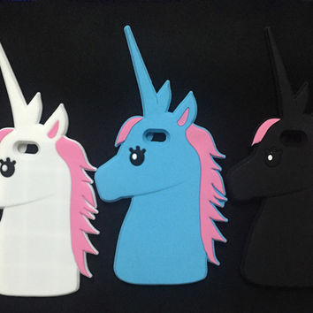New 3D Cartoon Unicorn Soft Silicone Rubber Phone Case Cover For iPhone 4 4S SE 5 5S 5C 6 6S 7 7S & Plus White Horse Case