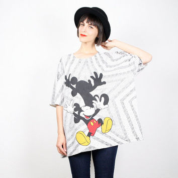 Vintage Mickey Mouse T Shirt Disney Shirt Mickey Mouse Tshirt Black Shite Yellow Red Star Print Oversized Top 1980s 80s L XL Extra Large