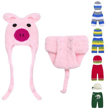 Newborn Baby Prop Girls Boys Caps Hat Crochet Knit Costume Baby Props Outfits Hats For Newborns