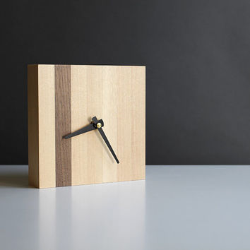 Modern 5.5 in. square desk clock walnut and birch wood with tapered black hands