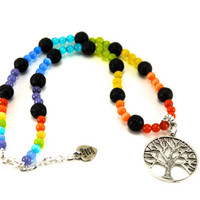 Chakra Necklace, Chakra Necklace with Tree of Life Pendant, Tree of Life Necklace