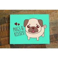 Pugs & Kisses – Cute Pug Dog Card