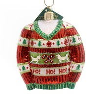 Old World Christmas FESTIVE CHRISTMAS SWEATER Glass Themed Party 32260