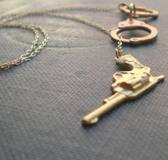 Handcuff Gun Necklace The Outlaw Lariat by contrary on Etsy