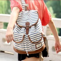 white and blue black vivi retro stripe zebra backpack bag