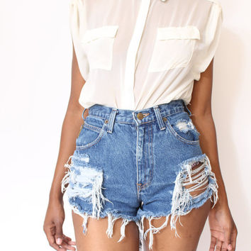 Destroyed Ripped Distress  Daisy Dukes Custom Made High Waist Shorts S M L