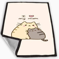 Pusheen The Cat I Love My Mom Blanket for Kids Blanket, Fleece Blanket Cute and Awesome Blanket for your bedding, Blanket fleece *