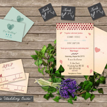 Nostalgic Romance Wedding Suite // Elegant Love heart Invitation // Complete Kit // Digital Printable // Menu Rehearsal Card RSVP Thank You
