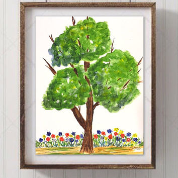 Nursery Tree and Flower painting, Nursery wall art, Whimsical Art Print, Child's room art, colorful Nursery Painting, park and garden