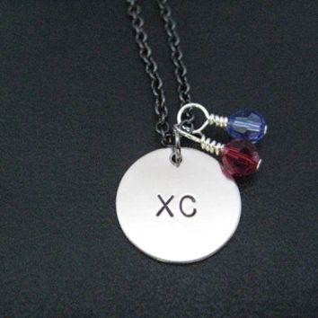 Round XC Team Colors Crystals - Choose 2 Crystals - Sterling Silver wrapped Swarovski Crystals and Round Nickel Pendant priced with Gunmetal chain