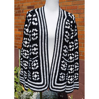 Vintage Handmade Granny Squares Cardigan, Bell Sleeves, Stripes, Deep Pockets, Transitional Sweater, 70s Black and White Long Sleeves