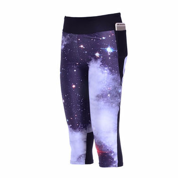 Galaxy Blue stars Side pocket Capri Yoga pant