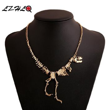 LHLQ Long Necklace Women Gothic Tyrannosaurus Rex Skeleton Dinosaur Pendants Charm Necklaces Dragon Bone Alloy Jewelry Collares