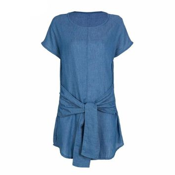 Short Sleeve Loose Casual Bowknot Twisted Front Denim Shift Mini Dress