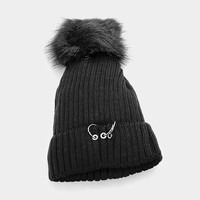 Women's Black Soft Knit Fleece Triple Ring Detail Fur Pom Pom Beanie Cap Hat
